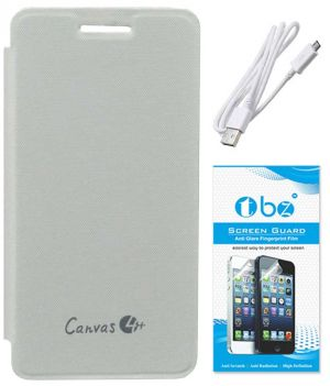 sale retailer 17586 e1c69 Tbz Flip Cover Case For Micromax Canvas 4 Plus A315 With Data Cable And  Screen Guard - White