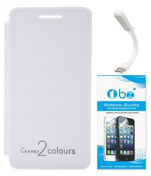 cheap for discount 309f1 aadb2 Tbz Flip Cover Case For Micromax Canvas 2 Colours A120 With Flexible USB  LED Light Lamp And Screen Guard - White