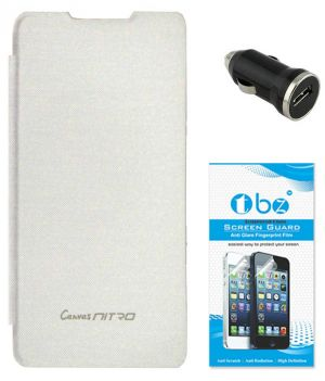quality design 68501 34436 Tbz Flip Cover Case For Micromax Canvas Nitro A310 With Car Charger And  Tempered Screen Guard - White