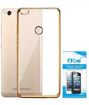 Buy Tbz Transparent Electroplated Edges Tpu Back Case Cover For Xiaomi Redmi 3s Prime With Tempered Screen Guard -golden online