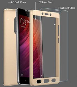 new product 51631 d3612 Tbz Front & Back Case Cover For Xiaomi Redmi 4a - Gold
