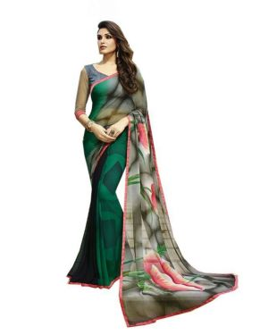 Buy Fabliva Olive Green Georgette Printed Saree Fds143-6103 online