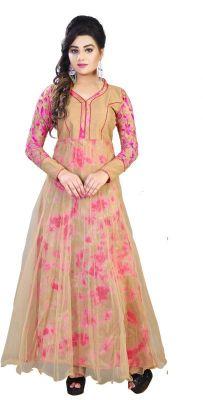 Buy Fashion Studio Biege Color Pure Georgette Soft-net Fabric Printed Long Semi-stitched Anarkali Suit - 2002 online