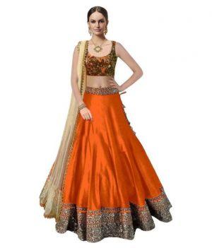 Buy Astha Fashion Orange Banglore Silk Bridal Lehenga Choli 201-orange online