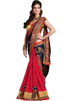 Buy Isha Enterprise Georgette Multi Color Wedding Saree online