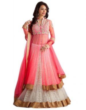 Buy Surat Tex Light Pink Net Embroidered Lehenga Choli online