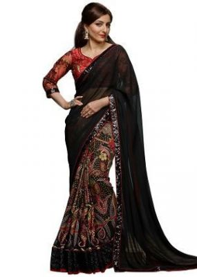 Buy Black Georgette Embroidered Saree With Blouse Piece online
