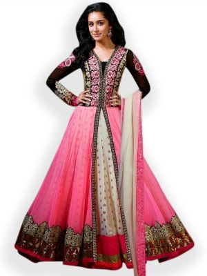 Buy Fabliva Latest Heavy Embroidered Designer Pink Anarkali Suits online