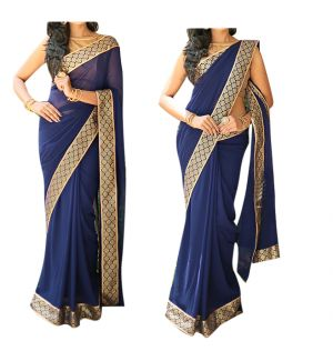 Buy Vinni tex Blue Georgette Fancy Lace work Saree- online