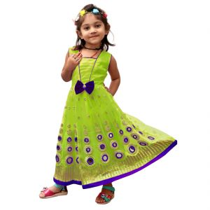 Buy Vinni tex Mehendi Color Soft net Gown For 3-4 year Girls online