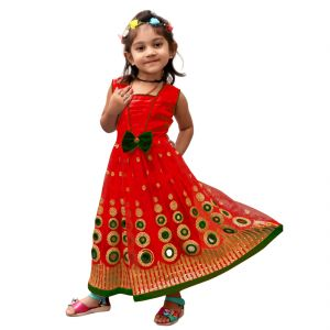 Buy Vinni tex Red Soft Net Designer Gown For 3 - 4 year Girls online