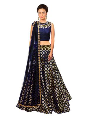 Buy New Blue Jacquard Designer Embroidered Lehenga Choli Fkj-03 online