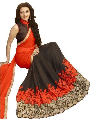 Buy Isha Enterprise Kajal Agarwal Orange Georgette Saree Kfa-1542-d online