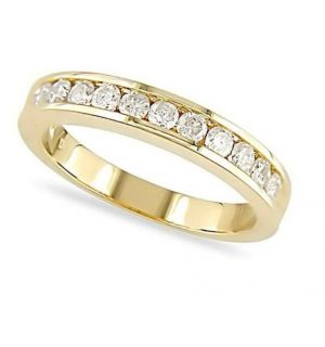 Buy Sheetal Impex Certified 0.55 Tcwreal Natural Round Cut Vs2 Clarity White Diamonds 14kt Yellow Gold Ring - R00283 online