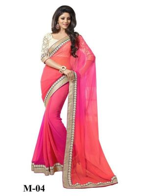 Buy Kmozi Pink And Orange Combination Beautiful Saree online