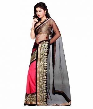 Buy Kia Fashions Divyanka Net Black Saree online