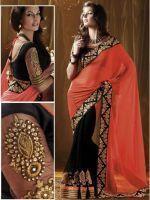 Buy Designer Sarees Online Nakashi Orange 1001rt online
