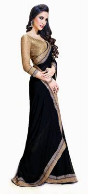 Buy Bikaw Bollywood Replica Jai Ho Black Women's Saree-jhblack online