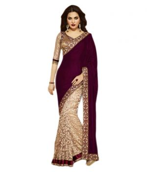Buy Nawabi Fashion For Maroon Velvet Saree online