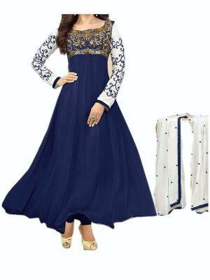 Buy Women's Blue Net Raw Silk Anarkali Dress Salwar Suit Ufs1052 online