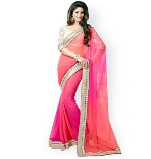 Buy Try N Get Peach Color Fancy Designer Saree online