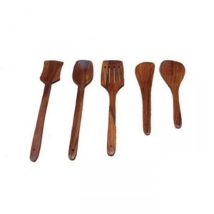 Buy Onlineshoppee Wooden Fancy Spoon Set Of 5 Afr149 Cac online
