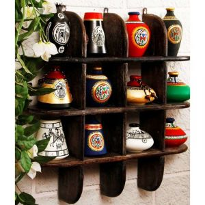 Buy Onlineshoppee Beautiful Black 3 Tier Wooden Wall Shelves/rack Size Lxbxh-20 online