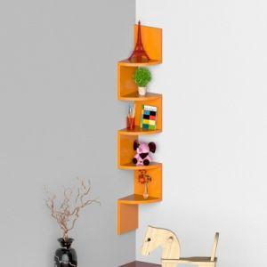 Buy Onlineshoppee Wooden Fancy Zigzag Wall Mount Floating Corner Wall Shelf - Orange Afr2753 online