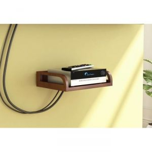 Buy Onlineshoppee Wooden Beautiful Design Set Top Box Wall Shelf Colour-brown Afr2766 online