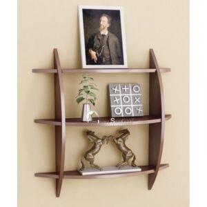 Buy Onlineshoppee Beautiful Brown 3 Tier Wooden Wall Shelves/rack Lxbxh-20x4x19 online