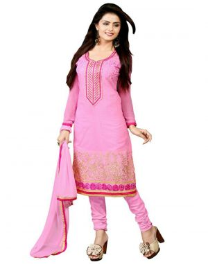 Buy Multi Retail Pink Embroidered Chanderi Semi Stitched Dress Material With Dupatta_a818dlsf362sn online