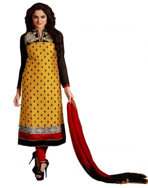 Buy Multi Retail Yellow Embroidered Cotton Semi Stitched Dress Material With Dupatta- A831dlsf326sn online