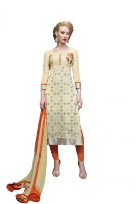 Buy Multi Retail Beige Embroidered Georgette Unstitched Dress Material With Dupatta online
