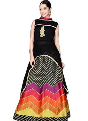 Buy Multi Retail Black Embroidery Georgette Unstitched Salwar Suit With Dupatta_c420dlsf825sn online