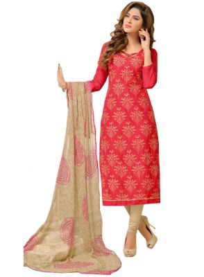 Buy Multi Retail Red Embroidered Chanderi Unstitched Dress Material With Dupatta_c618dlsf884sn online