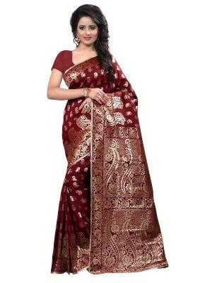 Buy Multi Retail Maroon Banarsi Silk Party Wear Jacquard/ Self Design Saree With Unstitched Blouse _c652se526sa online