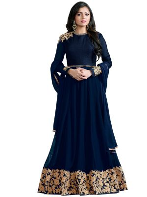 Buy Multi Retail Navy Blue Embroidered Georgette Unstitched Salwar Suit With Dupatta_c702dlniblha online