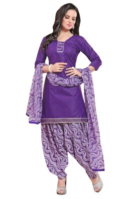 Buy Multi Retail Purple Printed Poly Cotton Unstitched Patiala Suit With Dupatta_c764ps4ph4007sa online
