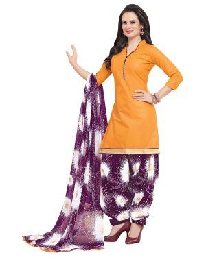 Buy Multi Retail Orange Printed Poly Cotton Unstitched Patiala Suit With Dupatta_c769ps4ph4012sa online