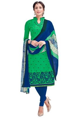 Buy Multi Retail Green Embroidered Chanderi Unstitched Dress Material With Dupatta_c787dl9asg9002sa online