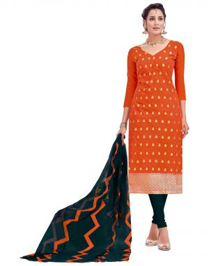 Buy Multi Retail Orange Embellished Banarsi Unstitched Dress Material With Dupatta_c790dl9asg9005sa online