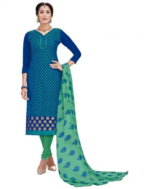 Buy Multi Retail Blue Embellished Banarsi Unstitched Dress Material With Dupatta_c792dl9asg9007sa online