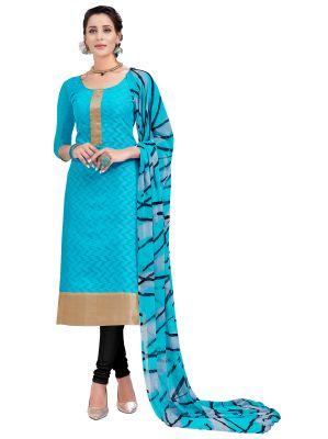 Buy Multi Retail Blue Embellished Banarsi Unstitched Dress Material With Dupatta_c794dl9asg9009sa online