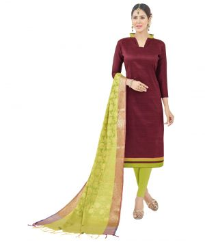 Buy Multi Retail Maroon Self Design Semi Cotton Unstitched Dress Material With Dupatta_c804dlflo1007sa online