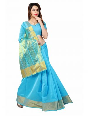 Buy Multi Retail Light Blue Cotton Silk-Border Patta Party Wear Jacquard/ Self Design Saree With Unstitched Blouse online
