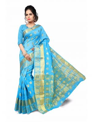Buy Multi Retail Light Blue Cotton Silk-jari Butta Party Wear Jacquard/ Self Design Saree With Unstitched Blouse (code - C899se1114-bsr) online