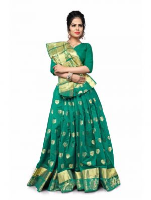 Buy Multi Retail Green Cotton Silk-jari Butta Party Wear Jacquard/ Self Design Saree With Unstitched Blouse(code - C900se1114-csr) online