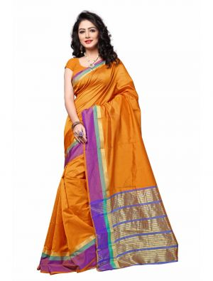 Buy Multi Retail Yellow Cotton Silk Party Wear Jacquard/ Self Design Saree With Unstitched Blouse(code - C922se1128-isr) online