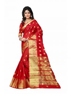 Buy Multi Retail Red Cotton Silk Party Wear Jacquard/ Self Design Saree With Unstitched Blouse online