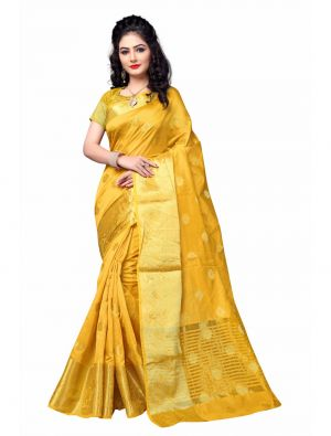 Buy Multi Retail Yellow Cotton Silk Party Wear Jacquard/ Self Design Saree With Unstitched Blouse online
